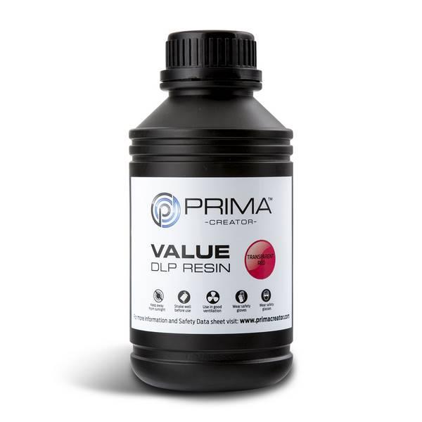 STANDARD UV DLP Resin TRANSPARENT RED 500ml - PrimaCreator