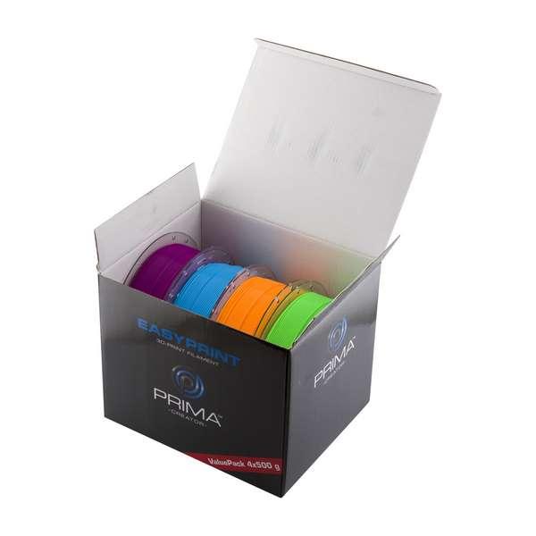 EasyPrint PLA filament Value Pack Neon 1.75mm 4x 500 g  Neon Blue, Neon Green, Neon Orange, Neon Purple
