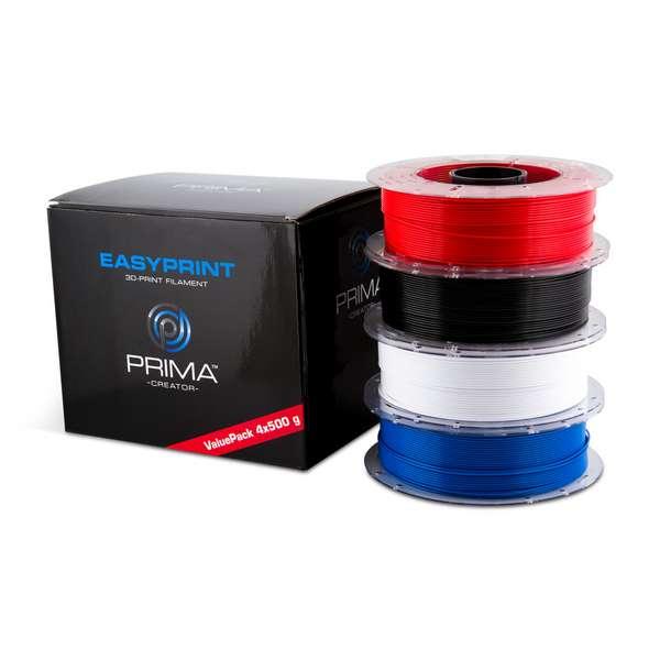 EasyPrint PLA filament Value Pack Standard 1.75mm 4x 500 g  White, Black, Red, Blue