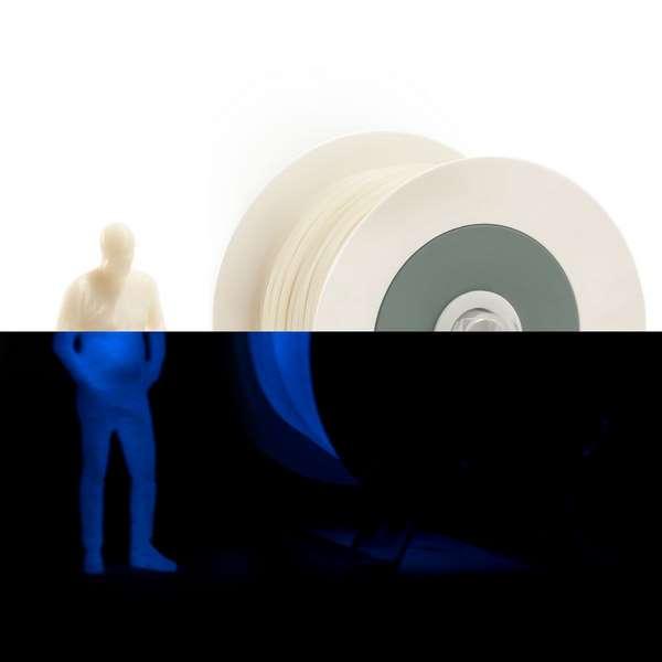 EUMAKERS PLA filament Photoluminescent Ivory White | Cyan 1.75mm 1000g