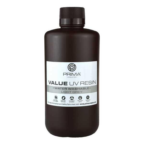 Water Washable UV DLP Resin LIGHT GREY 1000ml - PrimaCreator