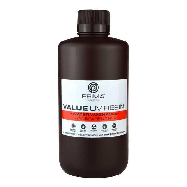 Water Washable UV DLP Resin TRANSPARENT RED 1000ml - PrimaCreator