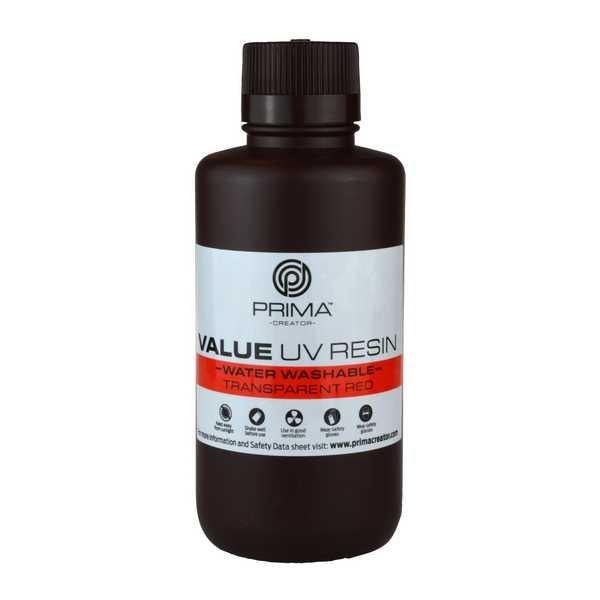 Water Washable UV DLP Resin TRANSPARENT RED 500ml - PrimaCreator